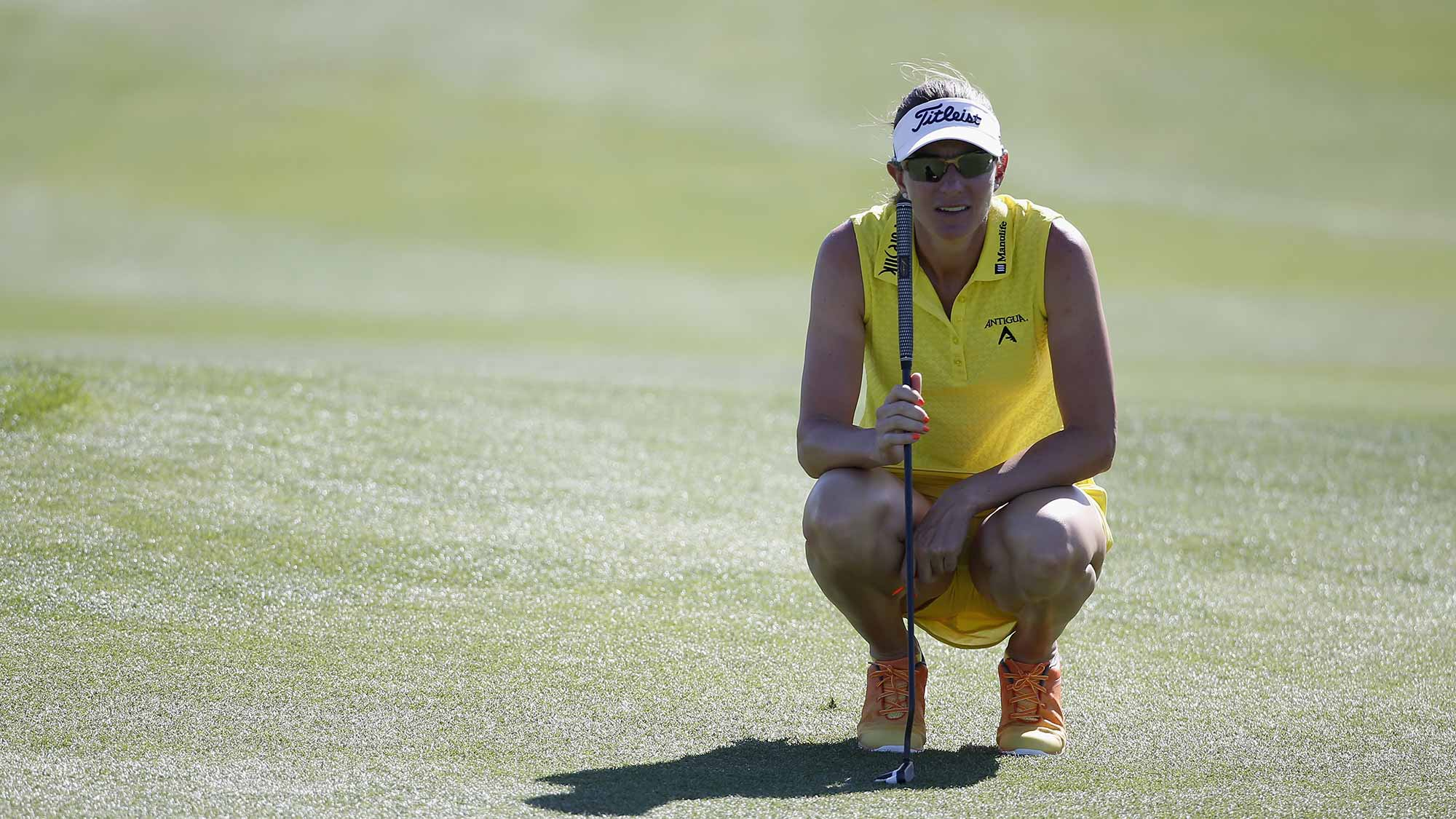 Brittany Lang prepares to putt on the first hole during the second round of the LPGA JTBC Founders Cup at Wildfire Golf Club