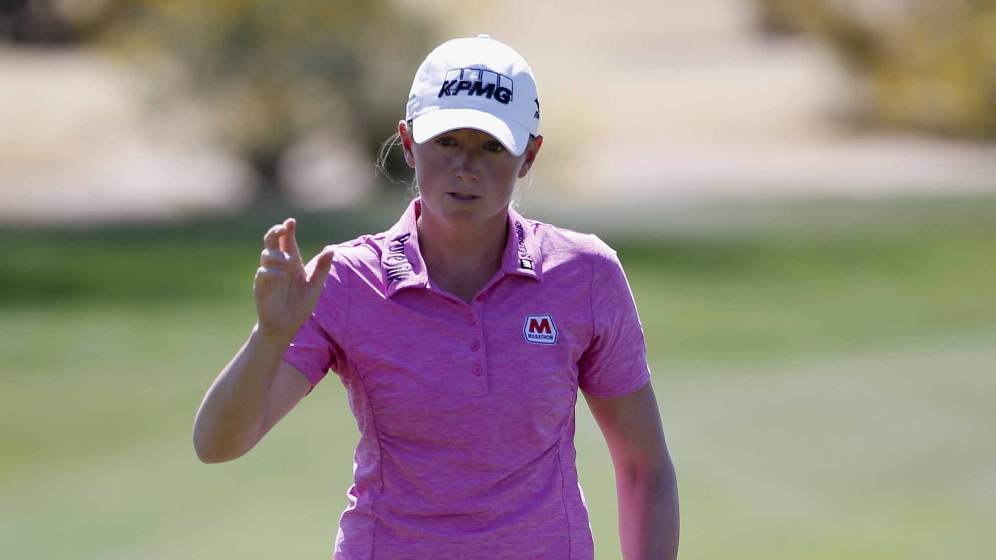 Stacy Lewis reacts after a putt on the first green during the second round of the LPGA JTBC Founders Cup at Wildfire Golf Club