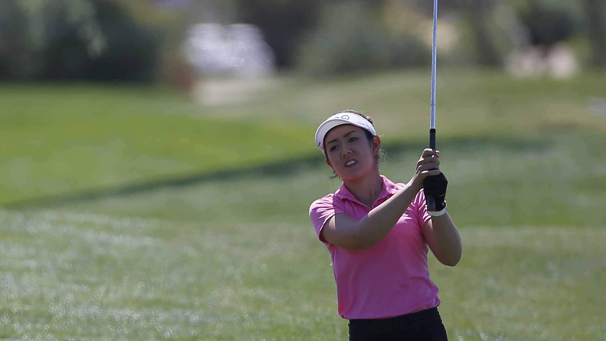 Hannah O'Sullivan hits a shot on the first hole during the third round of the LPGA JTBC Founders Cup at Wildfire Golf Club