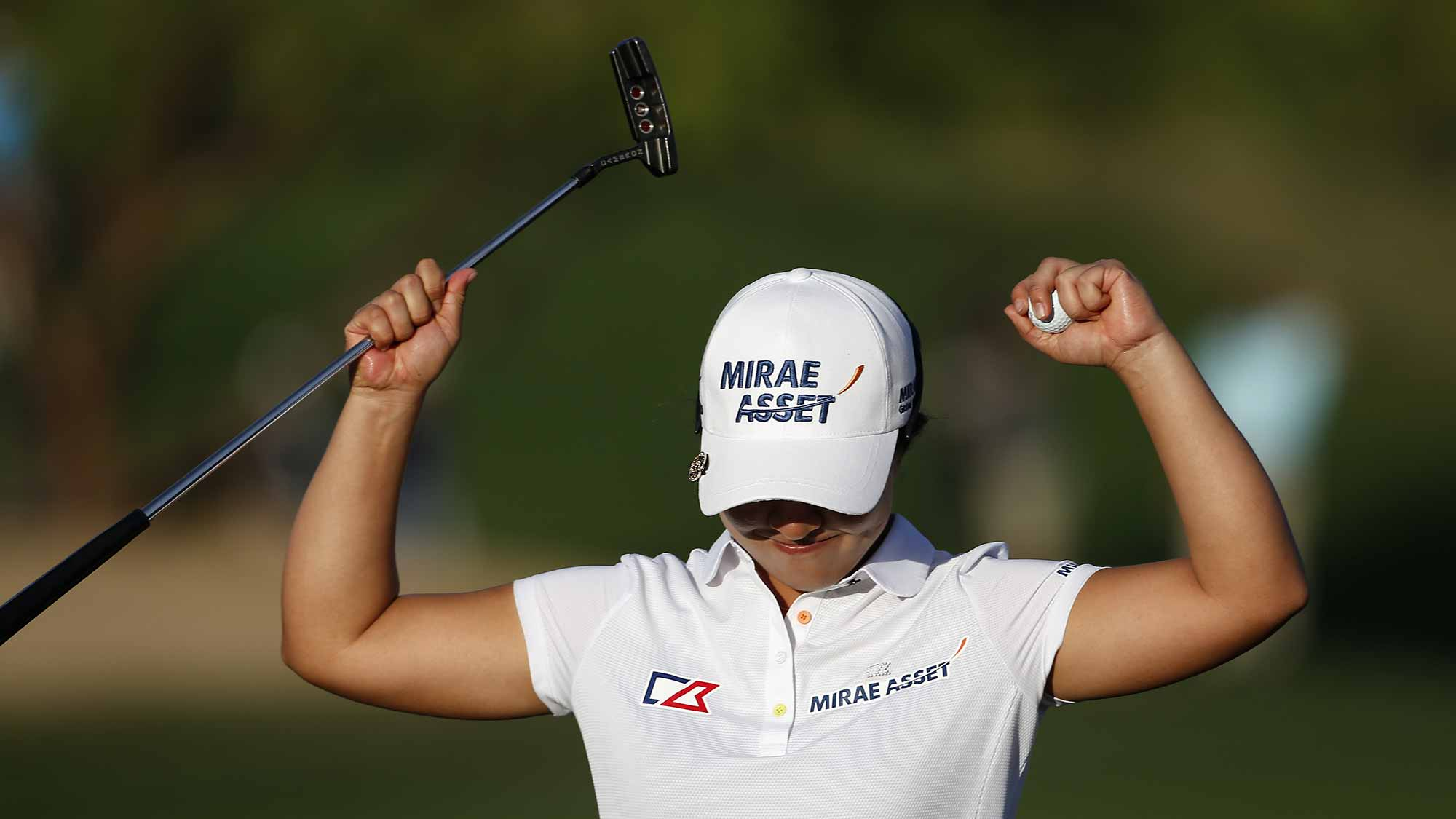 Sei Young Kim of South Korea celebrates after winning the LPGA JTBC Founders Cup at Wildfire Golf Club