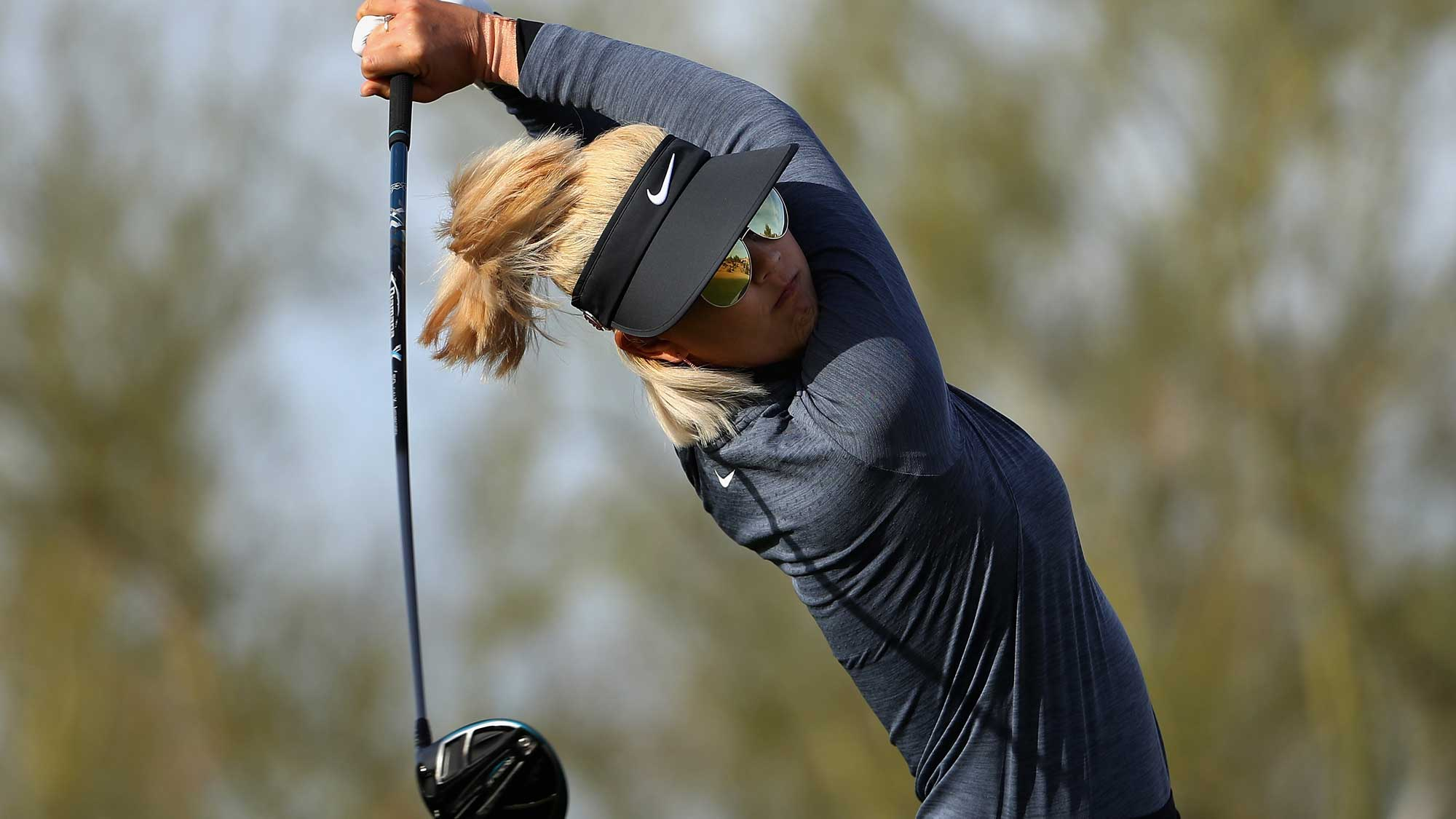 Michelle Wie Swings on Friday at the Founders Cup