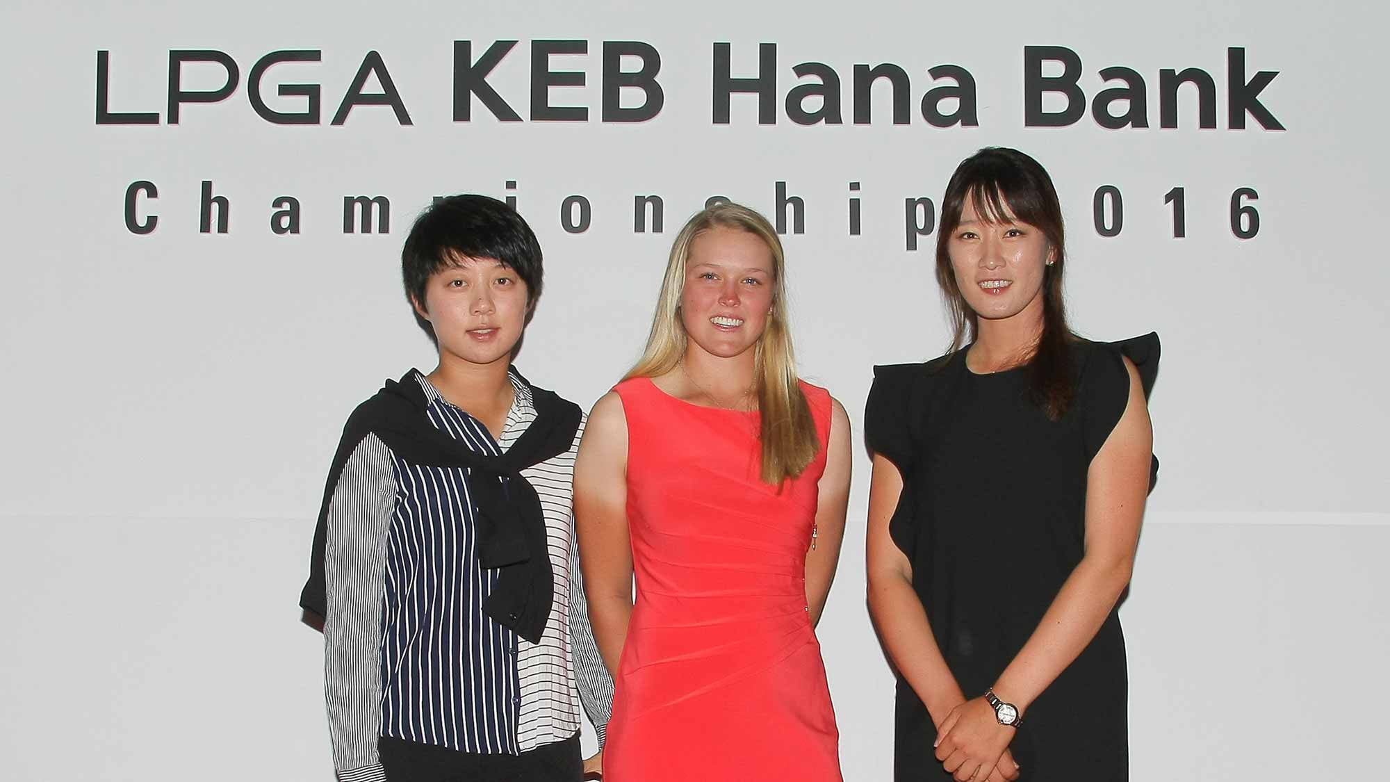 Hyo Joo Kim, Brooke Henderson and Chella Choi pose for a photo at the LPGA KEB Hana Bank Pro-Am Party