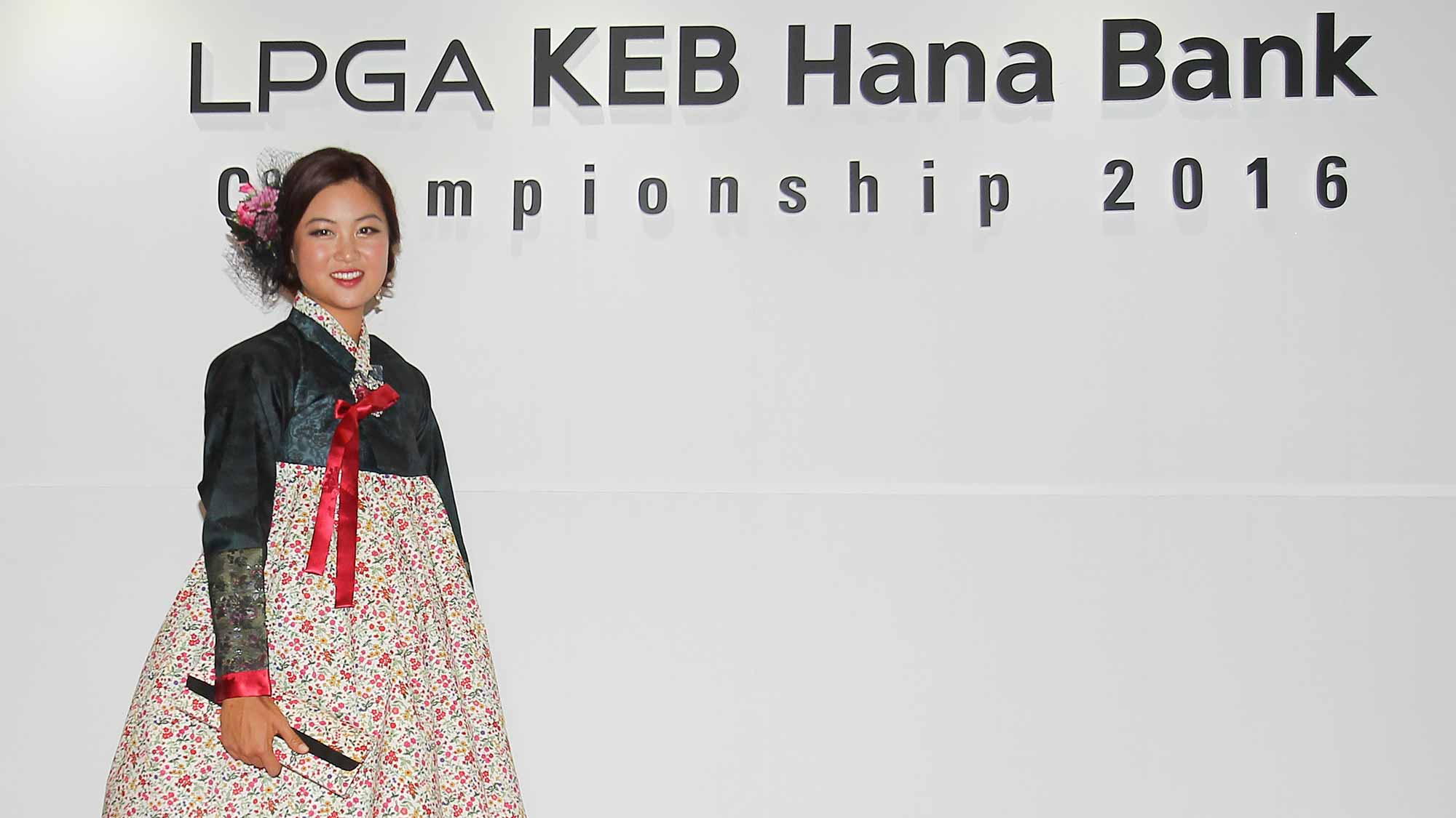 Minjee Lee poses for a photo at the LPGA KEB Hana Bank Pro-Am Party