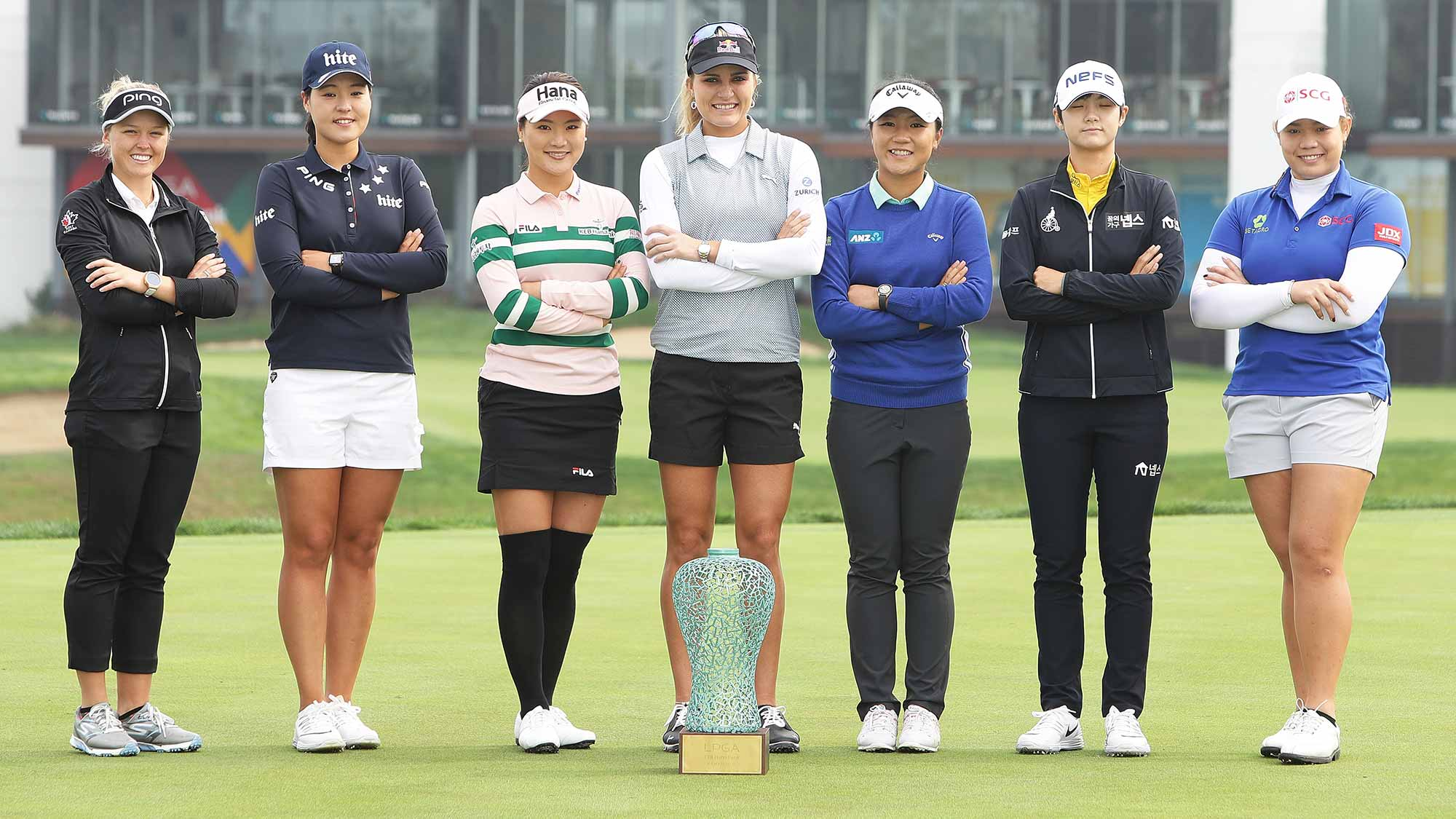 Brooke Henderson of Canada, In-Gee Chun of South Korea, So-Yeon Ryu of South Korea, Lexi Thompson of United States, Lydia Ko of New Zealand, Sung-Hyun Park of South Korea and Ariya Jutanugarn of Thailand pose during a photo call ahead of the LPGA KEB-Hana Bank Championship