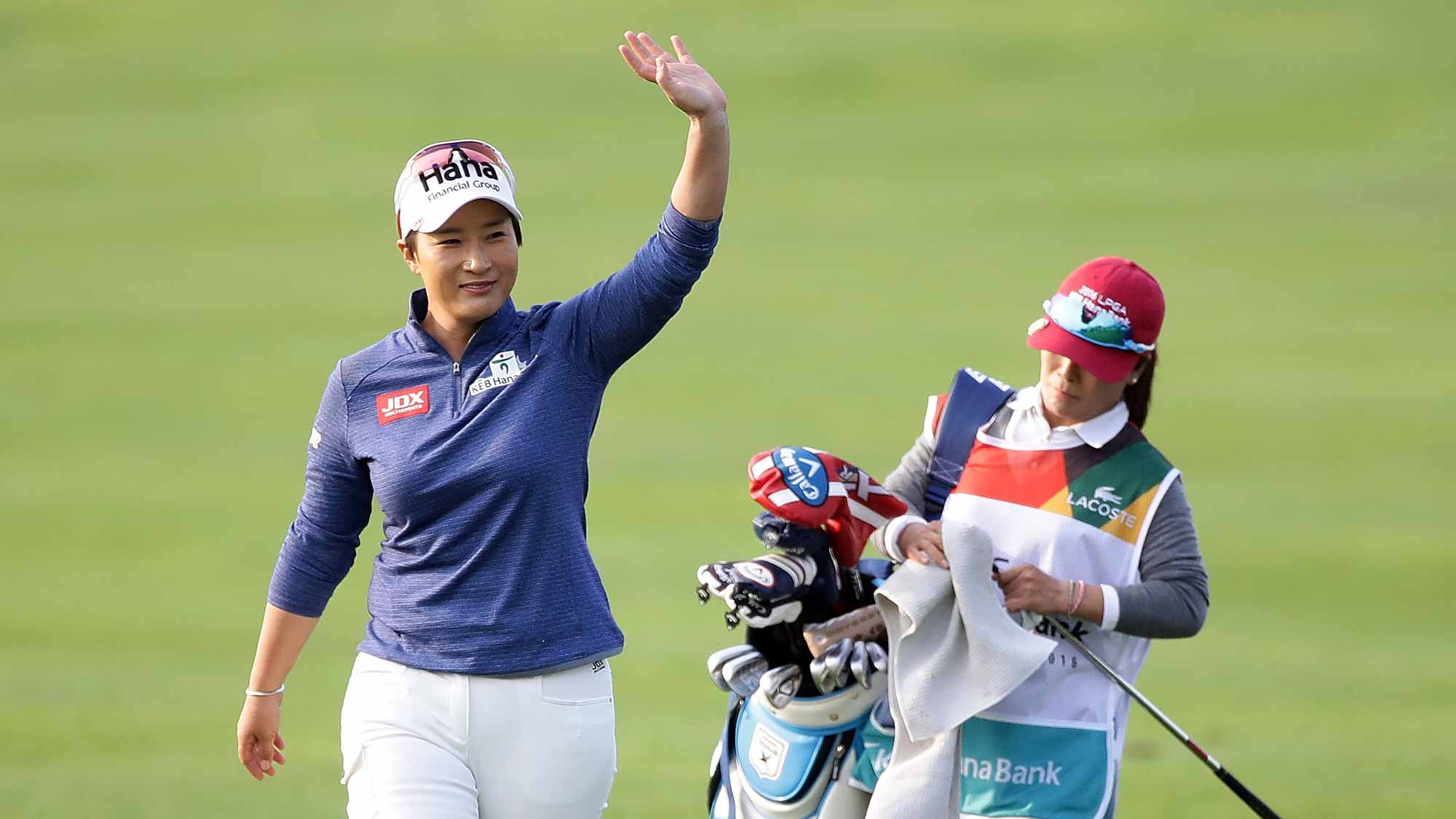 Se-Ri Pak of South Korea moves on the 18th hole during the first round of the LPGA KEB-Hana Bank Championship at the Sky 72 Golf Club Ocean Course