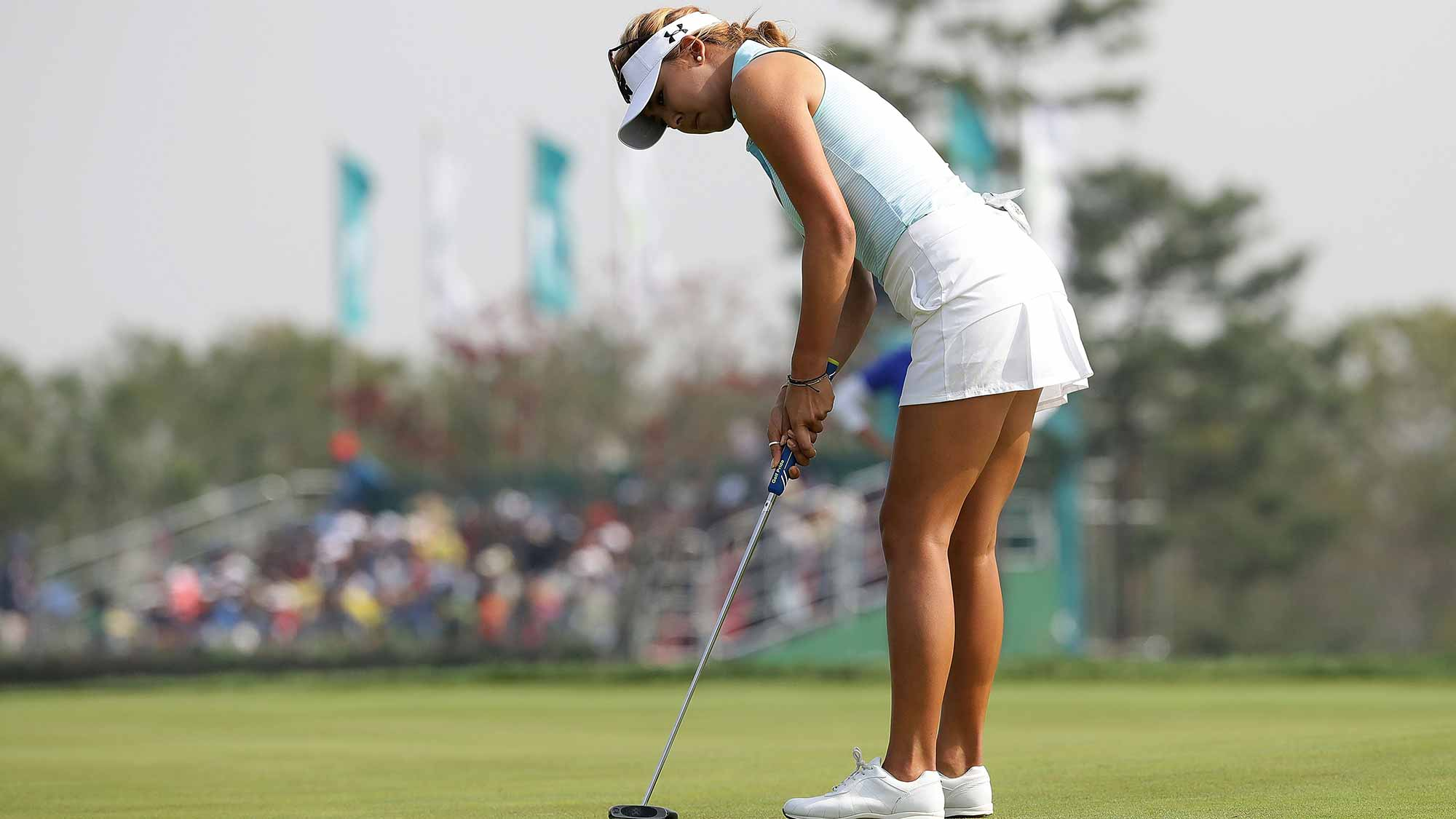 Alison Lee of United States plays a putt on the 9th hole during the third round of the LPGA KEB-Hana Bank Championship at the Sky 72 Golf Club Ocean Course