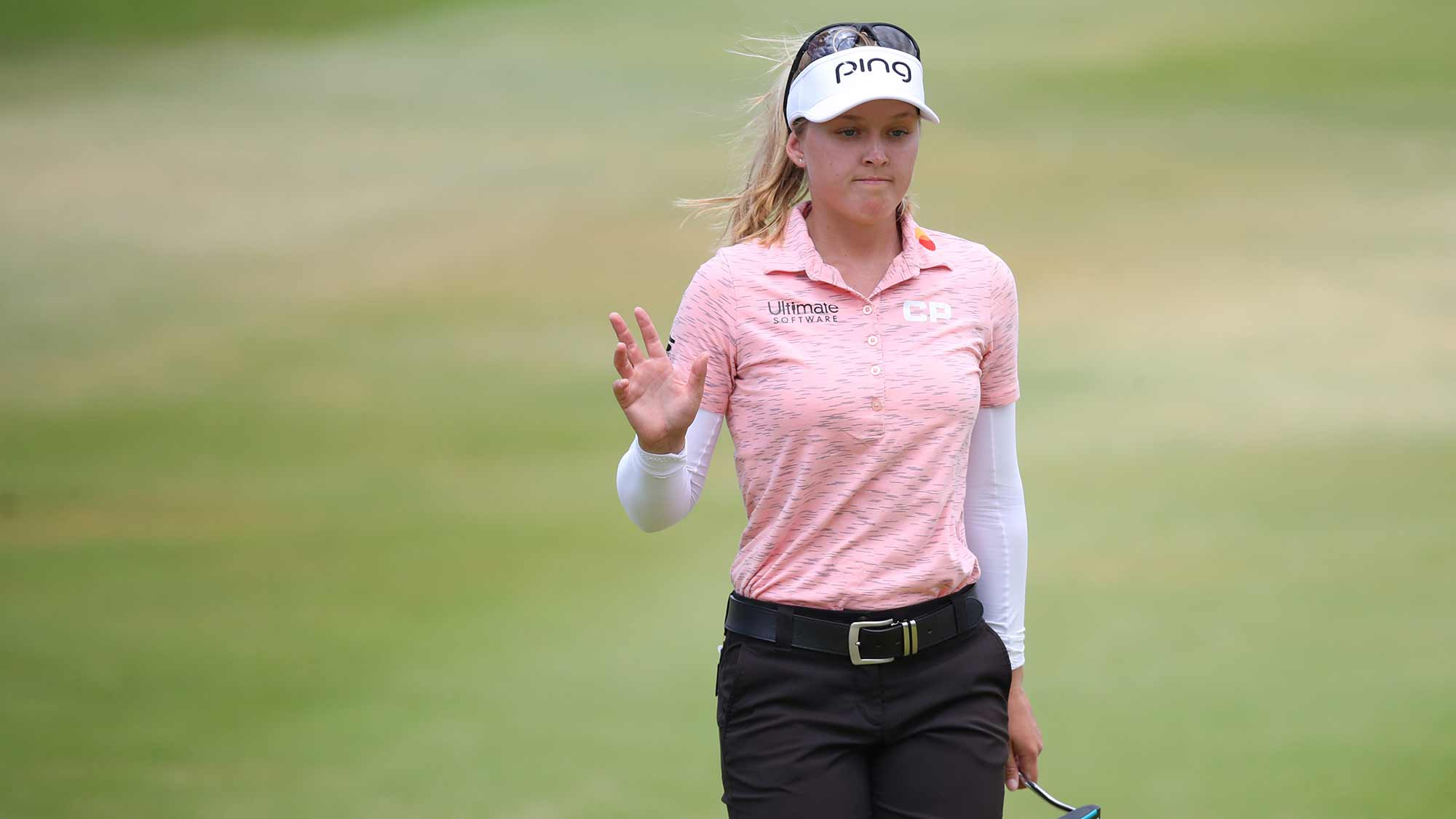 Brooke Henderson of Canada waves to fans after her eagle putt on the fifth green during the final round of the LOTTE Championship at Ko Olina Golf Club on April 21, 2019 in Kapolei, Hawaii