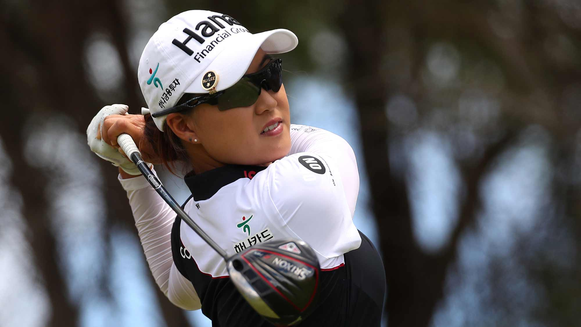 Minjee Lee of Australia watches her drive on the fifth hole during the final round of the LOTTE Championship at Ko Olina Golf Club on April 21, 2019 in Kapolei, Hawaii