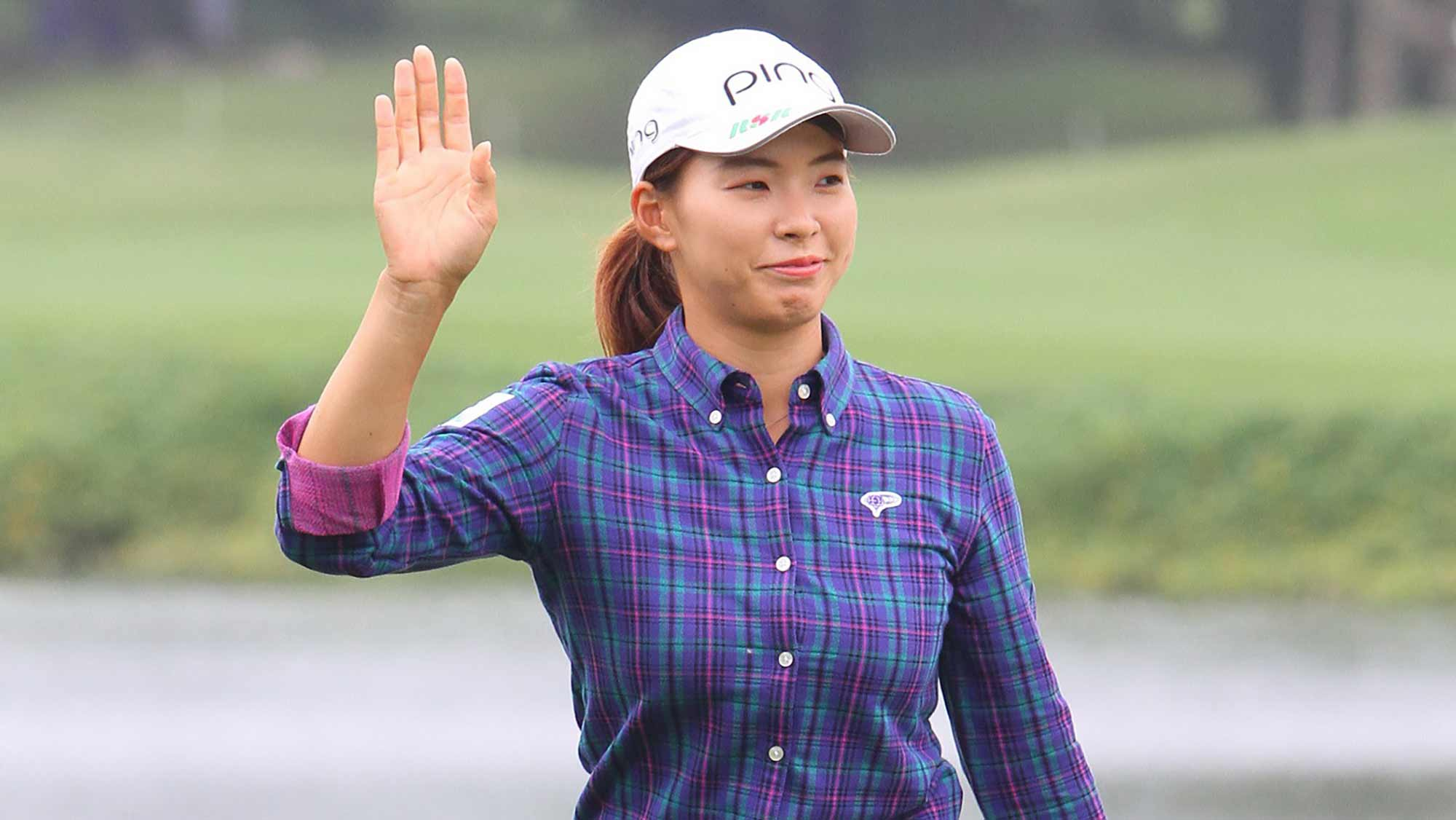 Hinako Shibuno waves during a practice round at the 2019 Taiwan Swinging Skirts LPGA presented by CTBC