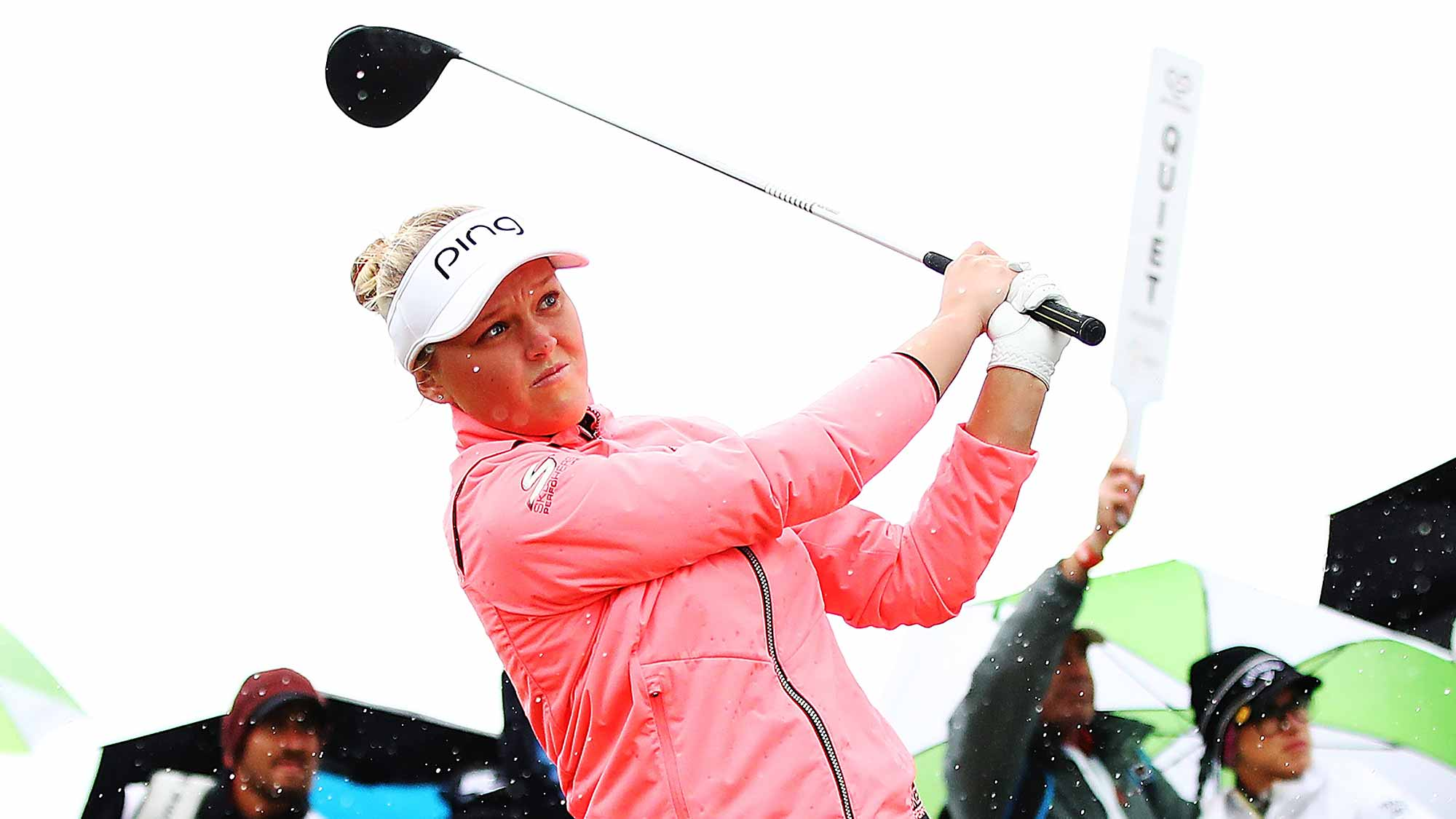 Brooke Henderson of Canada tees off during day four of the New Zealand Women's Open at Windross Farm
