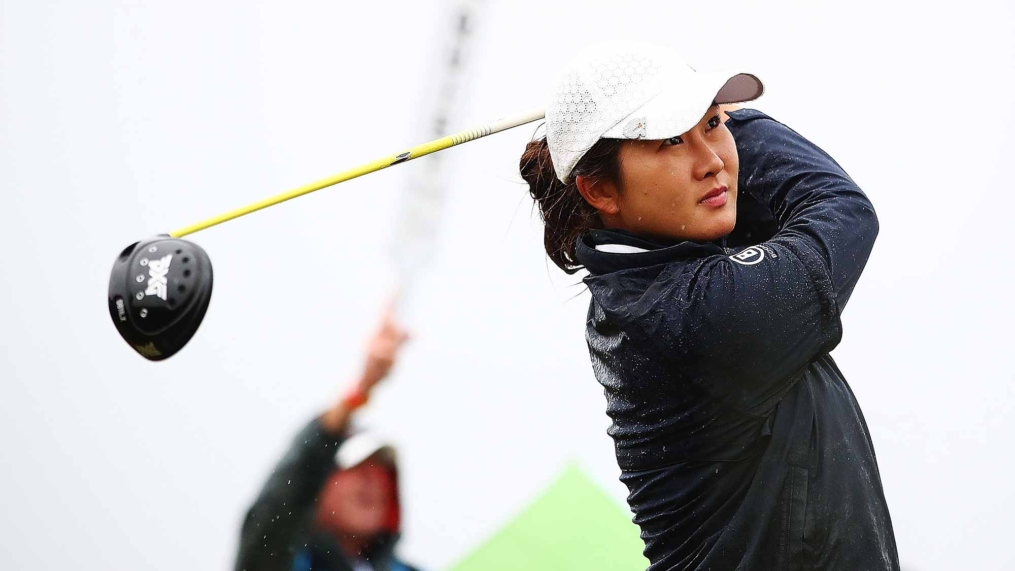 Su Oh of Australia tees off during day four of the New Zealand Women's Open at Windross Farm
