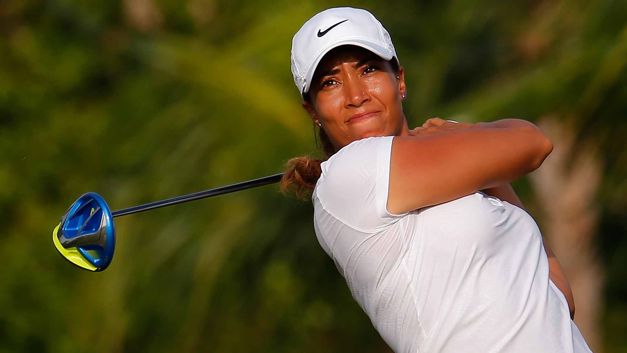 Cheyenne Woods tees off the fourth hole during the first round of the Pure Silk Bahamas LPGA Classic at the Ocean Club Golf Course