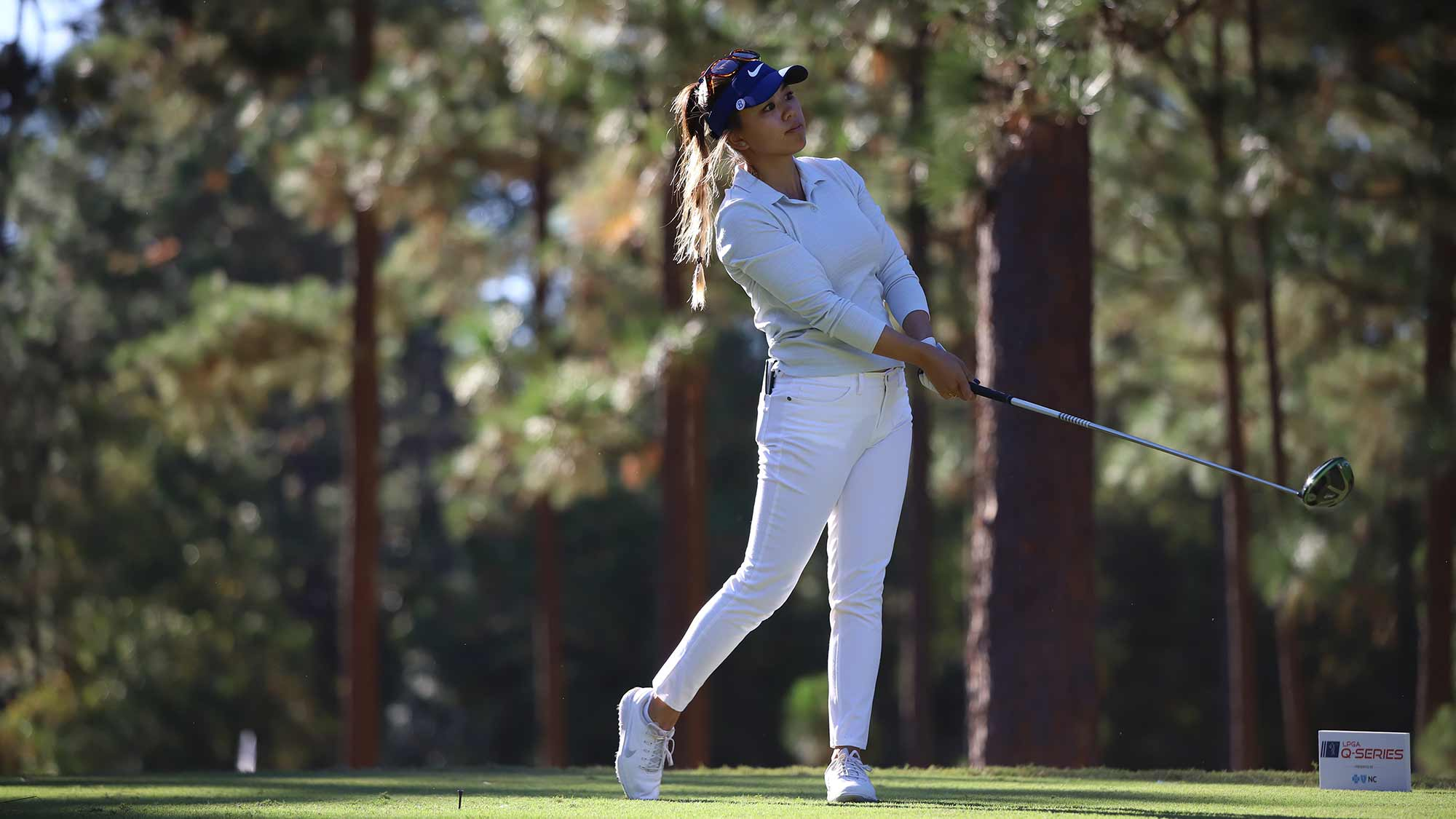 Brianna Do hits a tee shot during the first round of the 2019 LPGA Q-Series at Pinehurst Resort