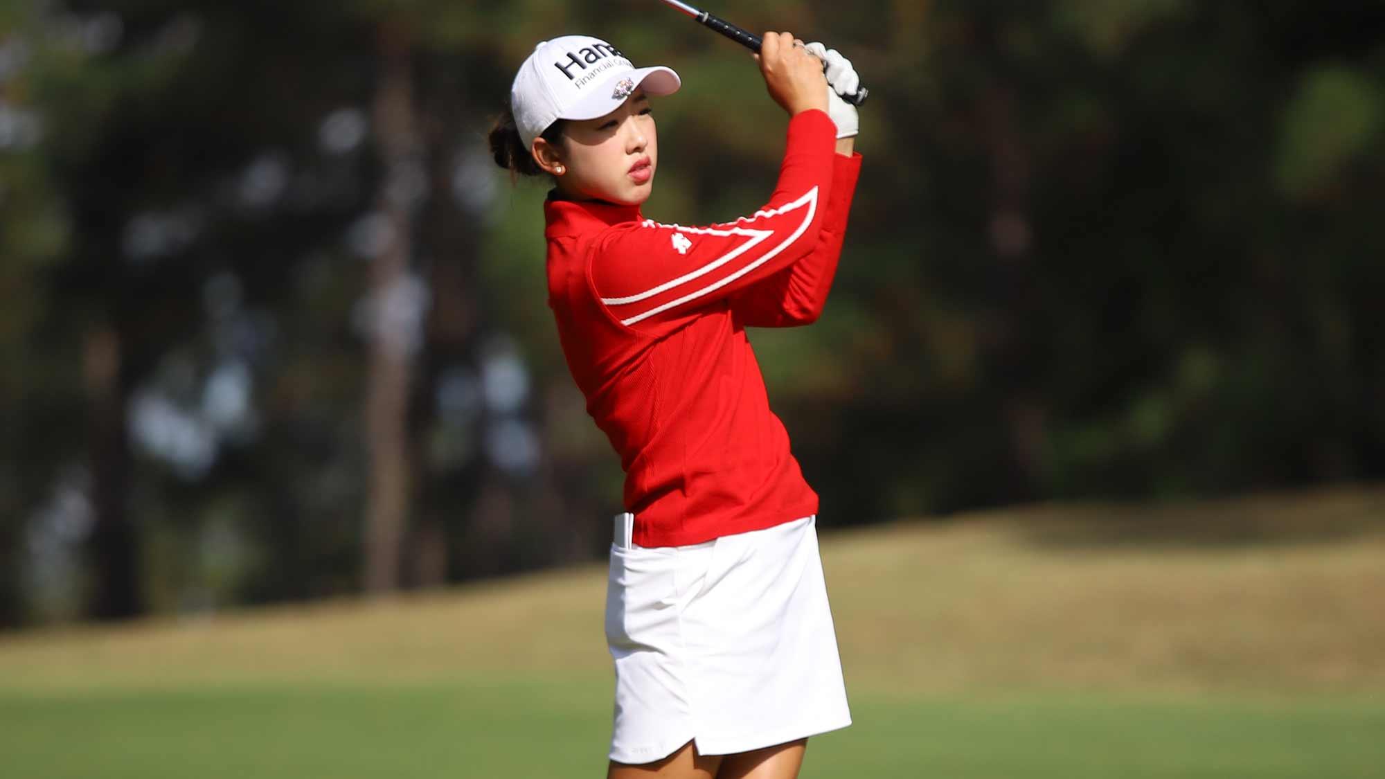 Yealimi Noh hits a shot during the third round of the 2019 LPGA Q-Series at Pinehurst Resort