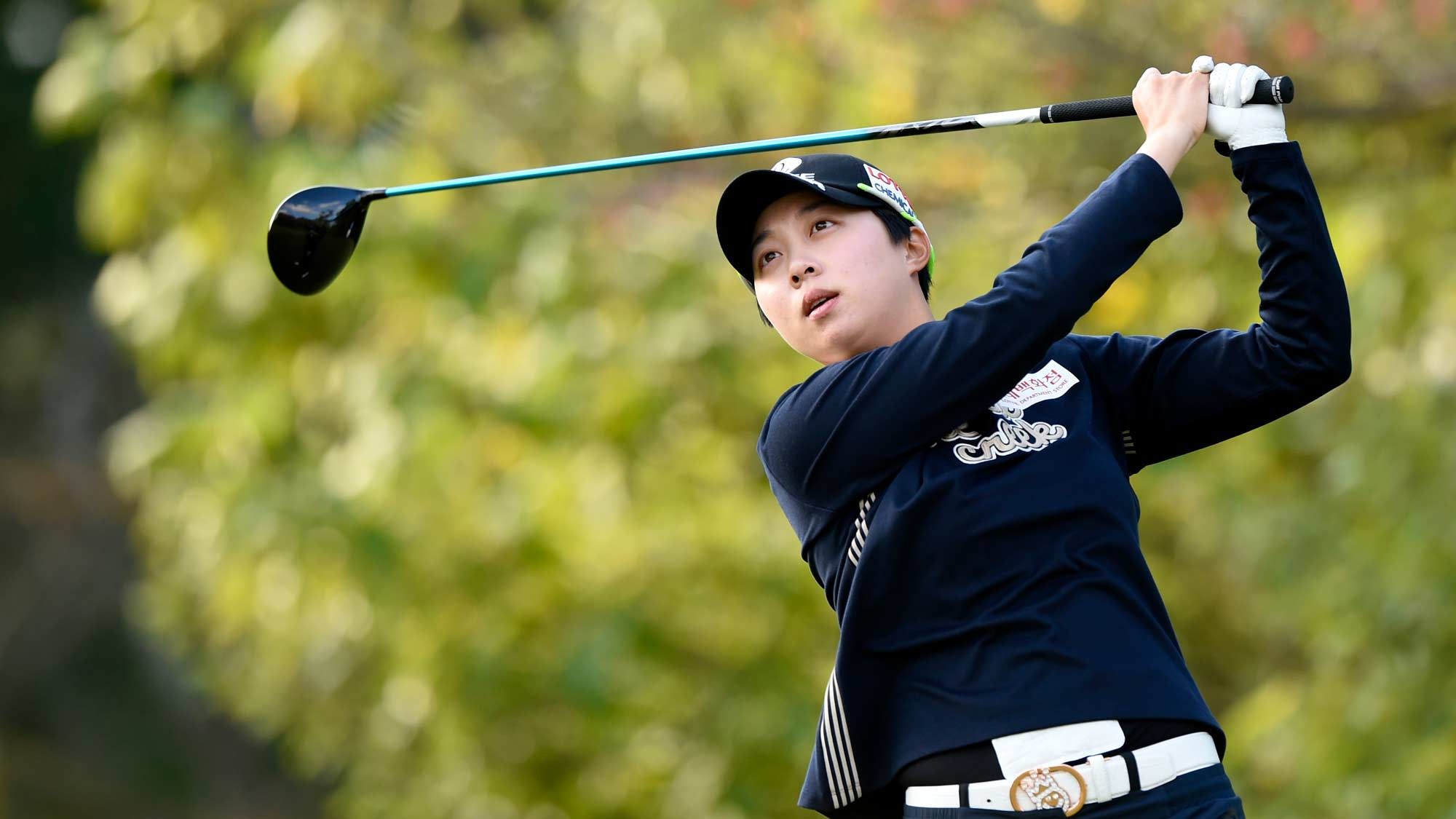 Hyo Joo Kim hits fairway wood at the first round of the 2019 TOTO Japan Classic