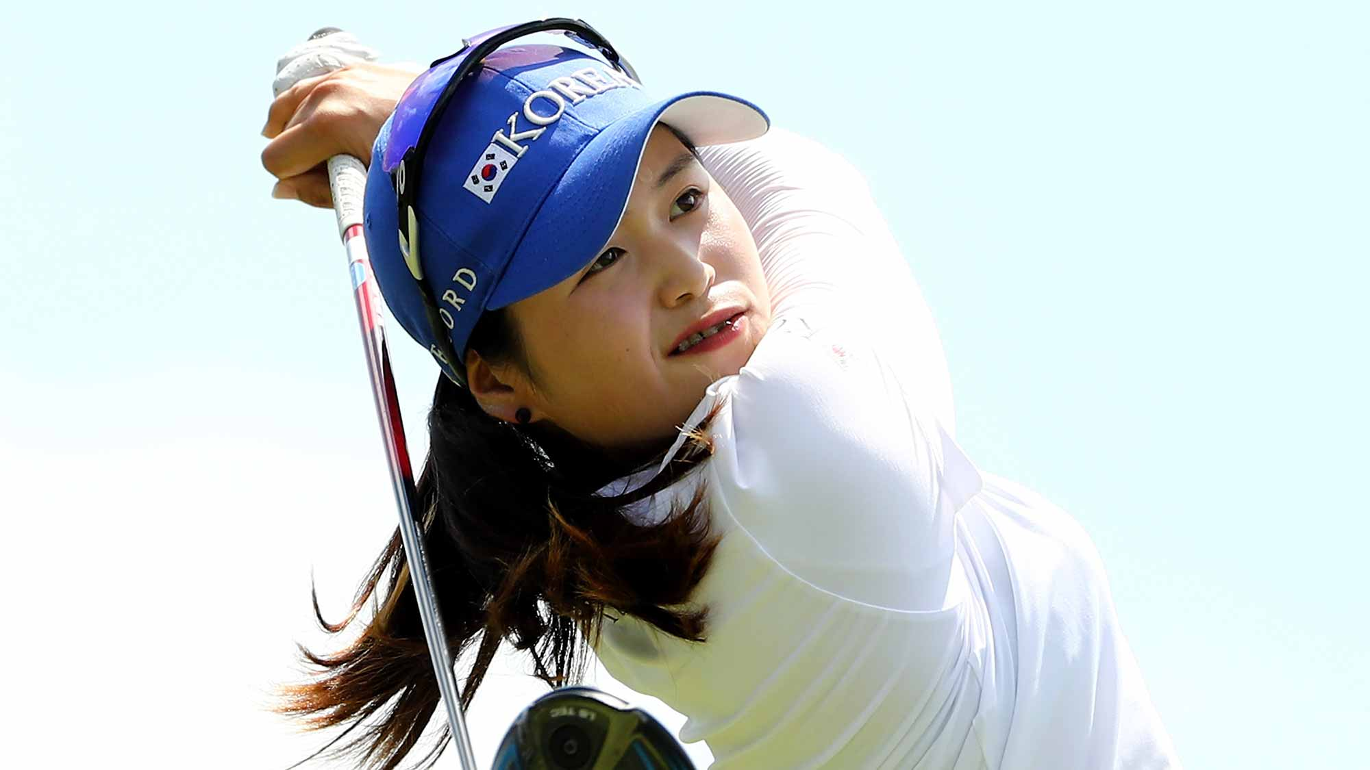 Hye-Jin Choi of Korea takes her shot from the seocnd tee during the final round of the U.S. Women's Open on July 16, 2017 at Trump National Golf Club