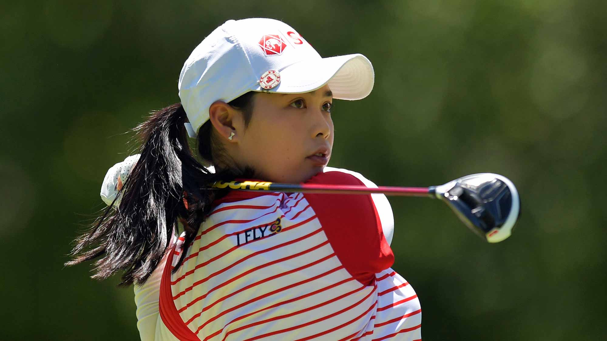 Moriya Jutanugarn of Thailand hits her tee shot on the second hole during the final round of the Walmart NW Arkansas Championship Presented by P&G