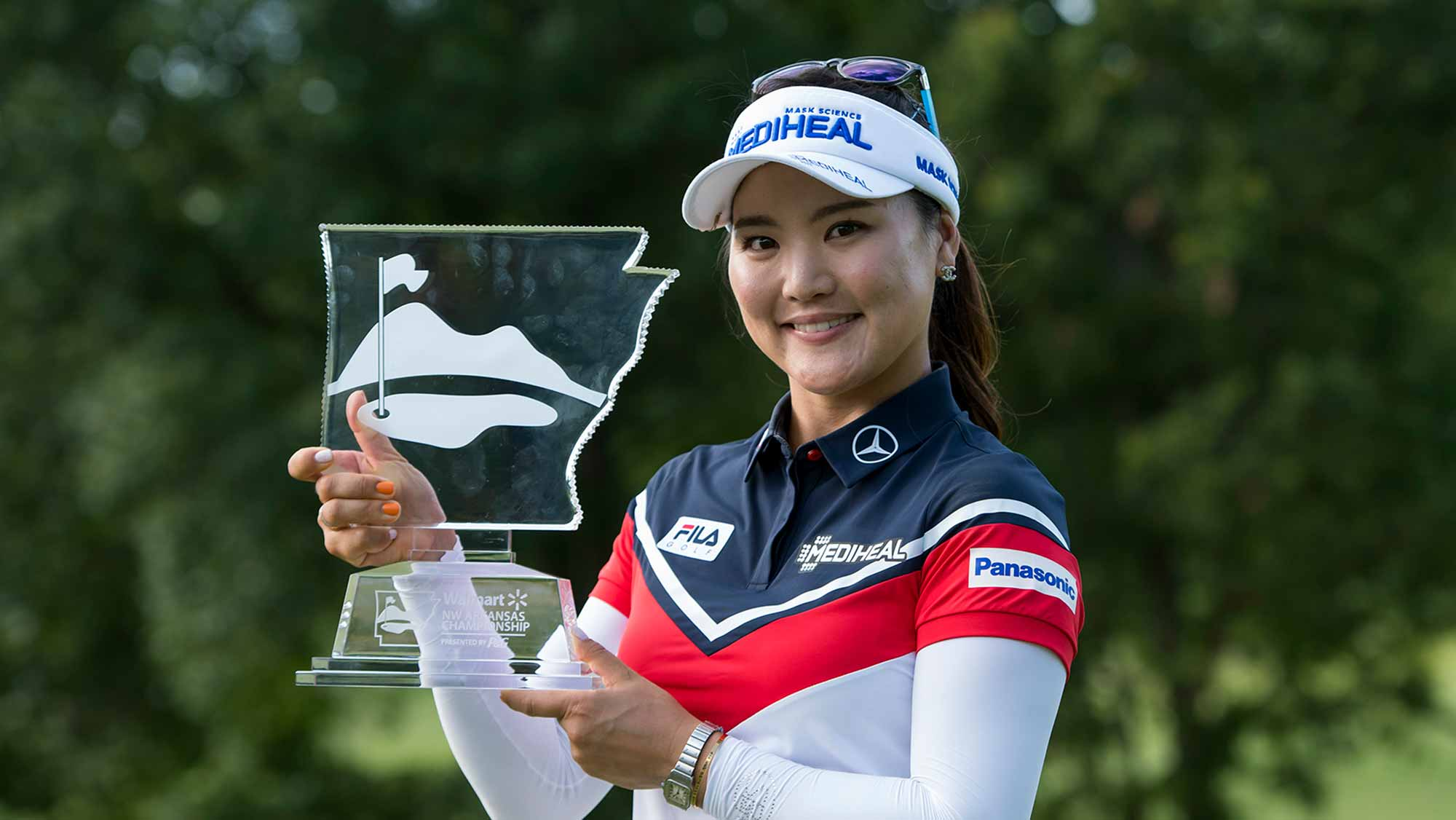 So Yeon Ryu Poses With The Trophy After Winning the 2017 Walmart NW Arkansas Championship presented by P&G